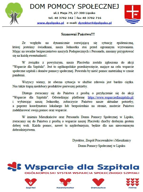 Wsparcie dla szpitala- DPS Lipsko2