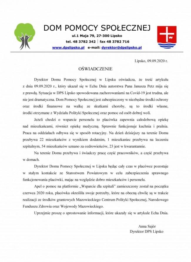 09.09.2020 r. DPS Lipsko - oświadczenie